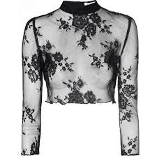Black Lace Long Sleeve Crop Top