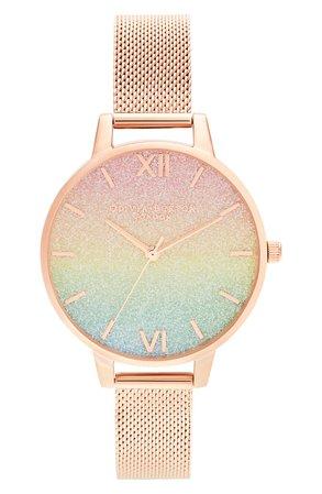 Olivia Burton Rainbow Glitter Dial Mesh Strap Watch, 34mm | Nordstrom