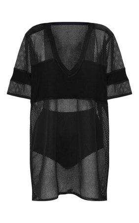 Black Airtex Mesh T Shirt Dress   PrettyLittleThing
