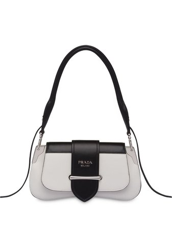 White Prada Buckled Sidonie Shoulder Bag | Farfetch.com