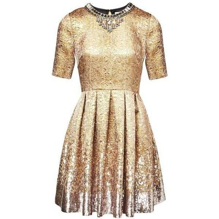 Matthew Williamson Gold Jacquard Sequin Dress