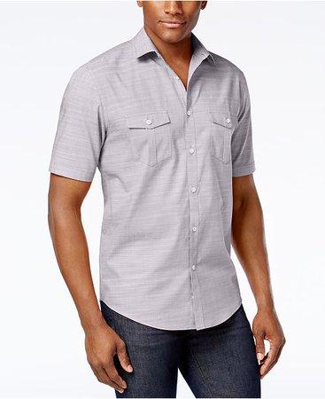Alfani Men's Warren Textured Short Sleeve Shirt, Created for Macy's - Casual Button-Down Shirts - Men - Macy's