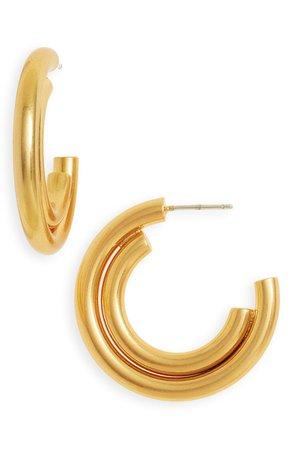 Madewell Duo Shine Medium Hoop Earrings | Nordstrom