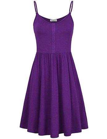 Amazon.com: SUNGLORY Mid Dress,Women's Mini Strap Nightwear Long Cami Slip Dress Purple S: Clothing