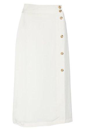 Chelsea28 Button Midi Skirt white