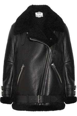 Acne Studios   Velocite shearling-trimmed leather biker jacket   NET-A-PORTER.COM