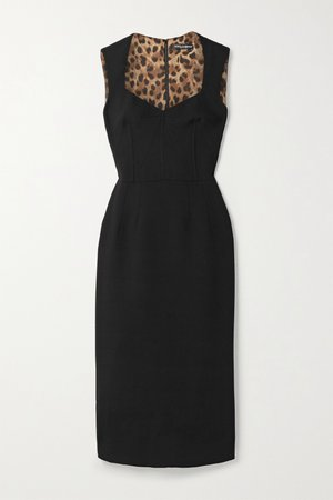 Black Wool-blend crepe midi dress | Dolce & Gabbana | NET-A-PORTER