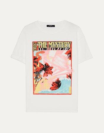 T-shirt with print - New - Bershka United States cream