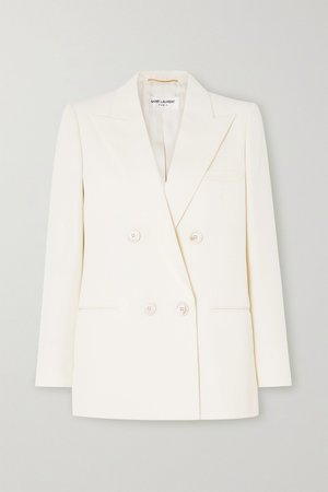Ivory Double-breasted wool-twill blazer | SAINT LAURENT | NET-A-PORTER