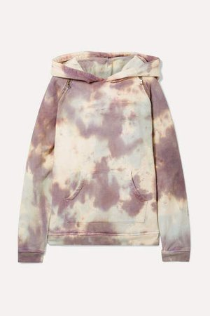 Tre By Natalie Ratabesi TRE by Natalie Ratabesi - The Embellished Tie-dyed Cotton-terry Hoodie - Lilac