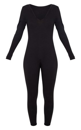 Black Seamless Cotton Elastane V Neck Jumpsuit | PrettyLittleThing USA black