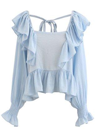 Square Neck Ruffle Crop Top in Blue - Retro, Indie and Unique Fashion