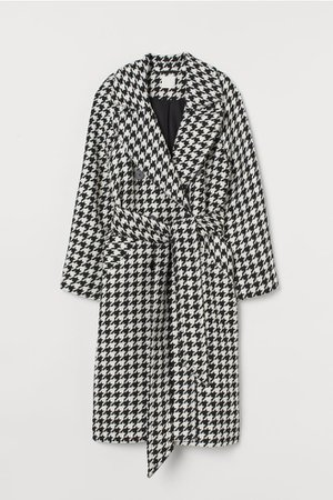 Houndstooth-patterned Coat - Black/houndstooth-patterned - Ladies   H&M US