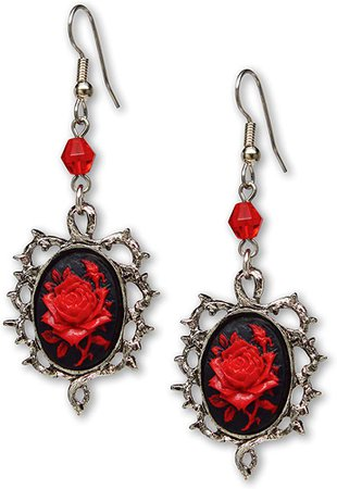 Gothic Red Rose Cameo Earrings