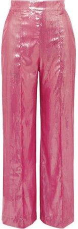 Michael Lo Sordo - Marina Metallic Velvet Wide-leg Pants - Pink