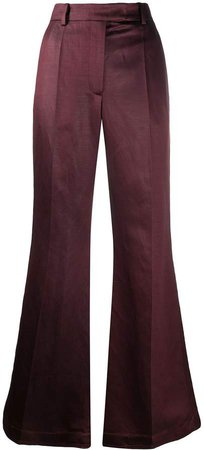 flared pleat front trousers