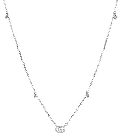 Double G 18Kt White Gold And Diamond Necklace - Gucci | Mytheresa