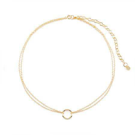 Double Strand Gold Circle Choker Necklace