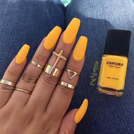 yellow nails coffin - Google Search