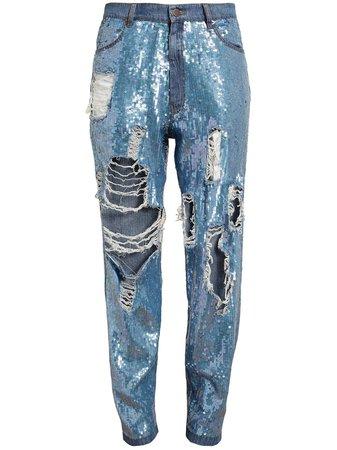 blue distressed denim sequin jeans