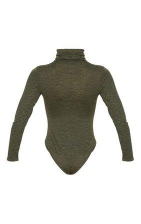 Khaki Marl Roll Neck Long Sleeve Bodysuit | PrettyLittleThing