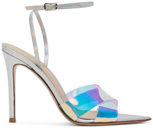 Silver Hologram Stark Heeled Sandals
