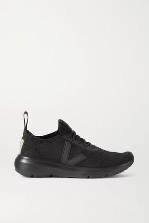Veja Rubber-trimmed V-knit Sneakers - Black