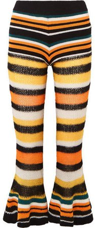 Paula's Ibiza Striped Knitted Flared Cropped Pants - Orange