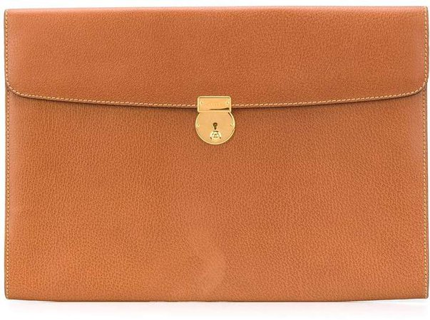 Pre Owned textured leather clutch