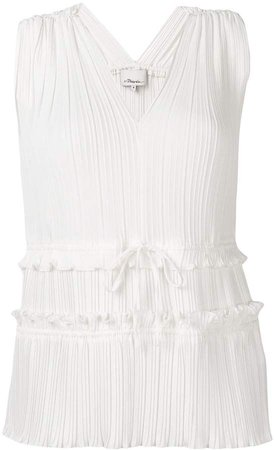 Pleated V-Neck Tank Top