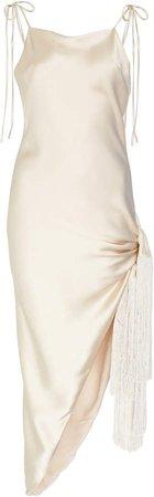 Giselle Tasseled Asymmetric Silk Dress