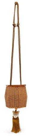 Wai Wai - Fauna Tiger Charm Wicker Cross Body Bag - Womens - Gold Multi