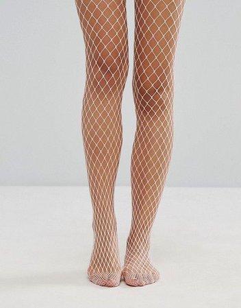White Fishnet Leggings
