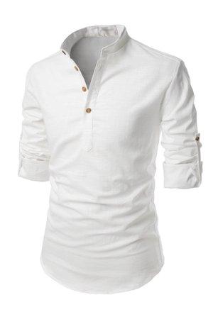 White Henley Mandarin Collar Roll-up Long Sleeved Linen Shirts