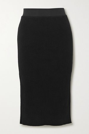 Black Ribbed cotton-blend midi skirt | James Perse | NET-A-PORTER