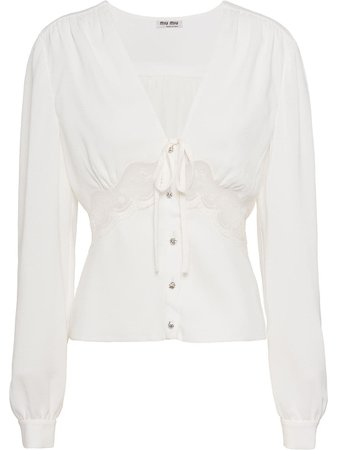 Miu Miu, Lace Detail V-Neck Blouse