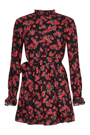 Floral High Neck Smock Dress | boohoo