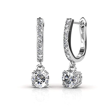 Amazon.com: Cate & Chloe McKenzie 18k White Gold plated brass with Swarovski Solitaire Crystals Dangle Channel Set Drop Horseshoe Earrings: Gateway