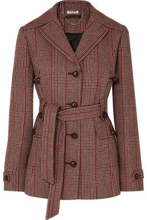 Miu Miu   Belted Prince of Wales checked wool-blend blazer   NET-A-PORTER.COM