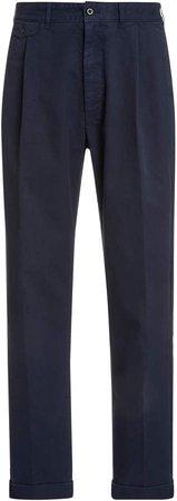 Pleated Cotton Chino Pants