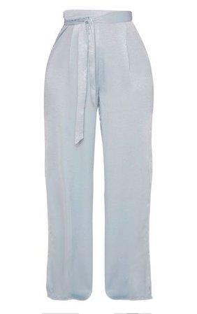 Shape Dusty Blue Satin Tie Waist Wide Leg Trouser | PrettyLittleThing