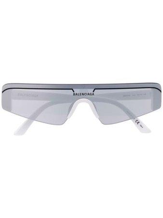 Balenciaga Eyewear Logo Ski Sunglasses 570483T0001 White | Farfetch