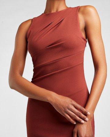 Pleated Shoulder Sheath Dress