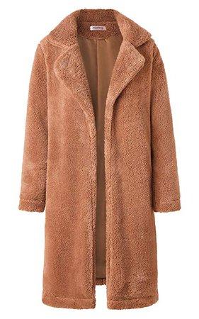 Angashion Women's Fuzzy Fleece Lapel Open Front Long Cardigan Coat Faux Fur Warm Winter Outwear Jackets with Pockets at Amazon Women's Coats Shop