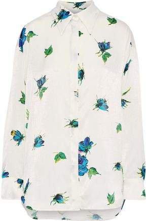 Floral-print Textured-satin Shirt