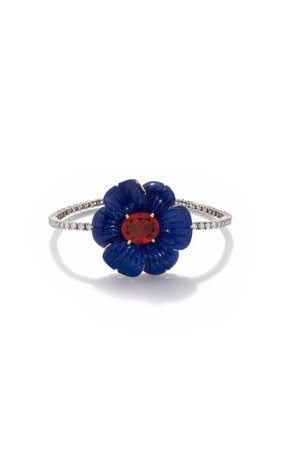 One of a Kind Tropical Flower Tennis Bracelet set with Lapis and Fire Opal by Irene Neuwirth | Moda Operandi