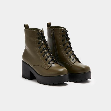*clipped by @luci-her* Gin Khaki Platform Military Boots | Koi