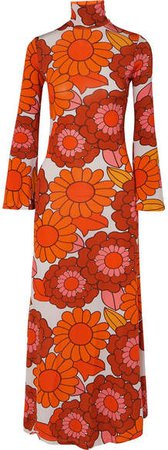 Brigitte Floral-print Stretch-jersey Dress - Orange