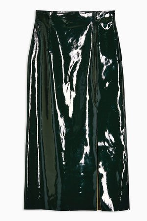 **Forest Green Vinyl Leather Skirt By Topshop Boutique | Topshop