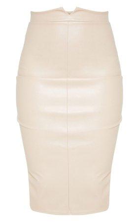 Eva Nude Faux Leather Panel Midi Skirt | PrettyLittleThing USA